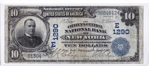 $10 1902 DB Citizens Central National NEW YORK NY Very Nice! Only 25 on Census!