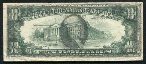 """1977-A $10 FEDERAL RESERVE NOTE """"COMPLETE FACE TO BACK OFFSET PRINTING ERROR"""""""