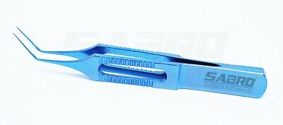 Titanium Utrata Capsulorhexis Forceps 12mm Fine Angled Curve 12 Shaft Tips 0.3mm