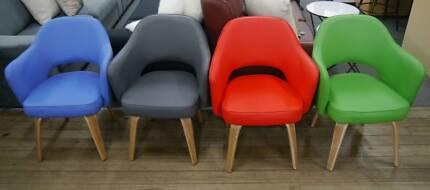 New Vinyl Kim Tub Scandi Timber Armchairs Replica Hille Chairs