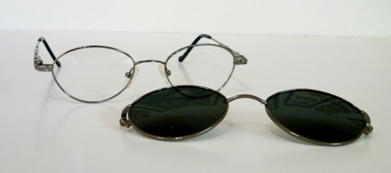 49-20-140 Oval Eyeglasses Metal Frame with Detachable Magnetic Shade $165 Retail