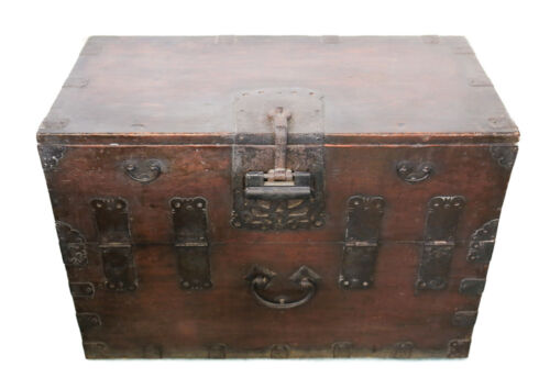 Korean bandaji Large wood and iron mount trunk, hand wrought mounts 19th Century