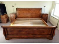 Solid Oak Superking Sleigh Bed