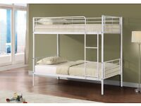 --BLACK/WHITE/SILVER Metal Frame SINGLE BUNK bed 3ft kids or adults ! Convertible as 2 Single beds--