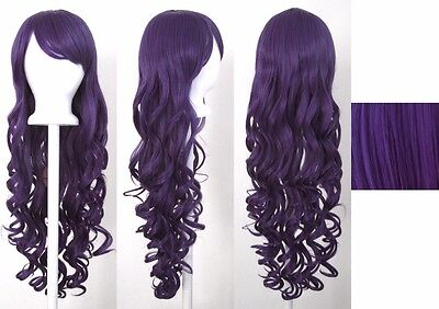 80CM Fashion Women Lady Long Wavy Curly Hair Anime Cosplay Party Wig - Long Purple Wig