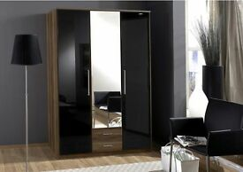 *14-DAY MONEY BACK GUARANTEE!** High Gloss Gamma 2 Door 3 Door and 4 Door Wardrobe -EXPRESS DELIVERY