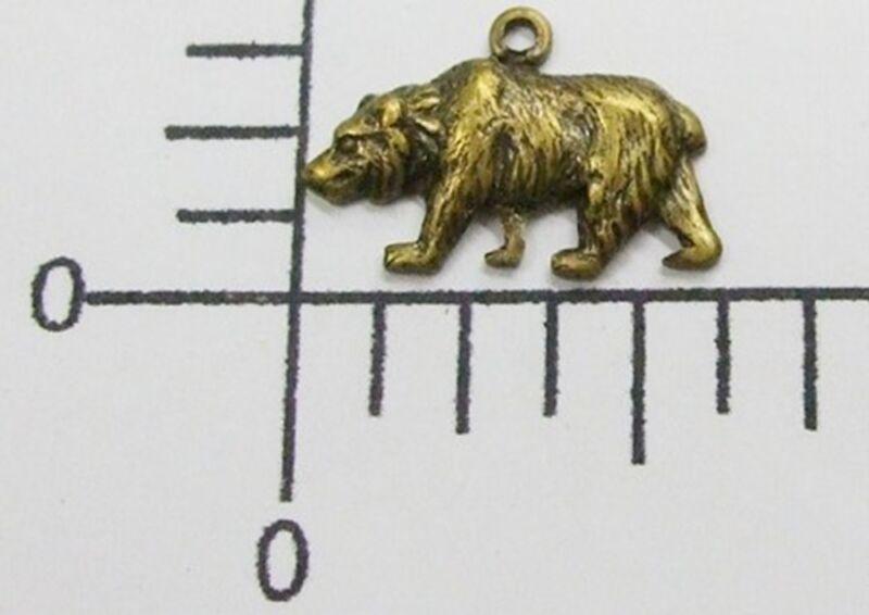 43643        3 Pc. Brass Oxidized Small Bear Charm Jewelry Finding