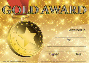 30 Gold Award certificates for school teachers, A5 silk finish card