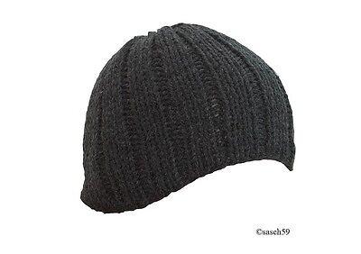 Mütze Strickmütze Beanie Wollmütze Cap Mützen grau Damen Wintermütze Skimütze D6