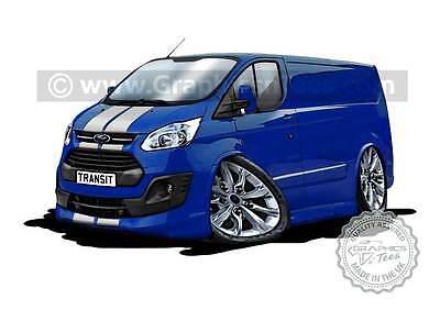 Transit Custom MK8 Caricature Cartoon A4 Print Blue, Personalised Gift Idea