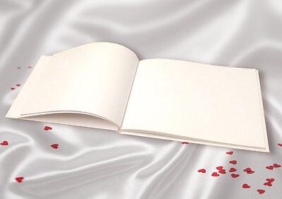 Plain, Blank, White Linen Guest Book. DIY Wedding Guest