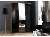 **7-DAY MONEY BACK GUARANTEE!** High Gloss Gamma 2 Door 3 Door and 4 Door Wardrobe -EXPRESS DELIVERY