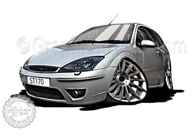MK1 Ford Focus ST170 Silver Car Cartoon Caricature A4 Print Personalised Gift