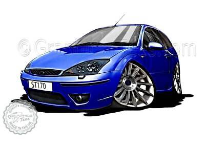 MK1 Ford Focus ST170 Blue Car Cartoon Caricature A4 Print Personalised Gift