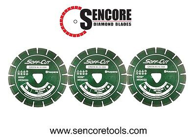 Husqvarna Excel 2000 6 Green Soff Cut Ultra Early Entry Diamond Blade 3pk