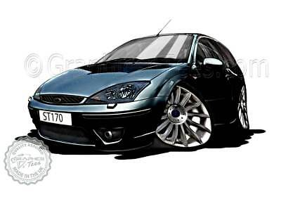 MK1 Ford Focus ST170 Black Car Cartoon Caricature A4 Print Personalised Gift