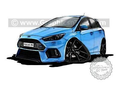 Focus RS MK3 Caricature Car Art Cartoon A4 Print Nitrous Blue, Personalised Gift