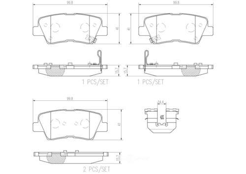 Disc Brake Pad Set-Premium NAO Ceramic OE Equivalent Pad Rear Brembo P50052N