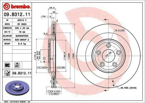Set of 2 Brembo 09.B312.11 Rear UV Coated Brake Disc