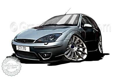 MK1 Ford Focus ST170 Grey Car Cartoon Caricature A4 Print Personalised Gift