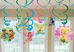 Disney Fairies Tinkerbell Party Supplies Foil Swirl Hanging Decoration Pack 12
