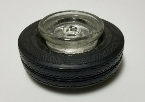 Vintage Tire Ashtray General Tire -  RARE deep glass version automobile man cave