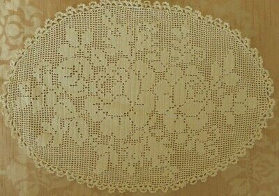 Vintage handmade white Tatted lace tray dressing table cloth oval leaves.