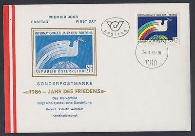 Österreich Austria 1986 FDC Mi.1837 Friedenstaube Erdkugel Peace Dove [af294]