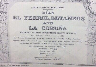 ADMIRALTY SEA CHART. La CORUNA & EL FERROL. No.79.NORTH WEST COAST of SPAIN 1915