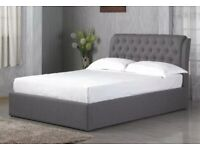 CHESTERFIELD STYLE OTTOMAN STORAGE BED IN GREY FABRIC
