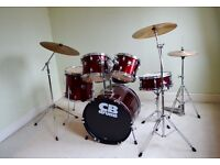 FULL DRUM KIT - Drums + cymbals + stool + sticks