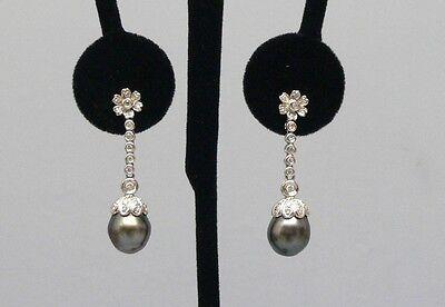 Beautiful 18K White Gold Diamond Dangle Earrings w/ Black Pearls