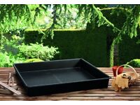 Three large garden trays, 90x90 cm or 37x37""