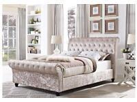 Special made crushed velvet bed