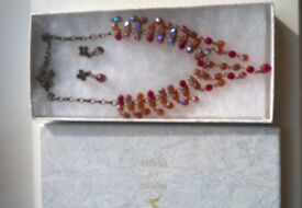 Vintage style (1928 make) red bead/crystal earring and necklace set