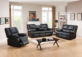 ***TORONTO BLACK FREE DELIVERY NEW LEATHER RECLINER SOFAS***