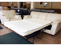 CREAM LEATHER 3+1 Seater , SOFA BED SUITE, 3 Seat Sofa/Fold-out Bed + Armchair + FREE LOCAL DELIVERY