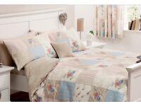 Shabby chic Vintage style patchwork effect double duvet set (cover & 2 pillow cases)