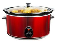 Brand New Andrew James Premium Slow Cooker with Tempered Glass Lid & Removable Ceramic Bowl - 8L Red