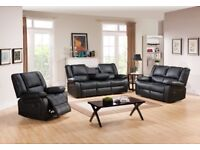 *-*-* SALE *-*-* NEW Leather Recliner Sofas Romas Brown or Black