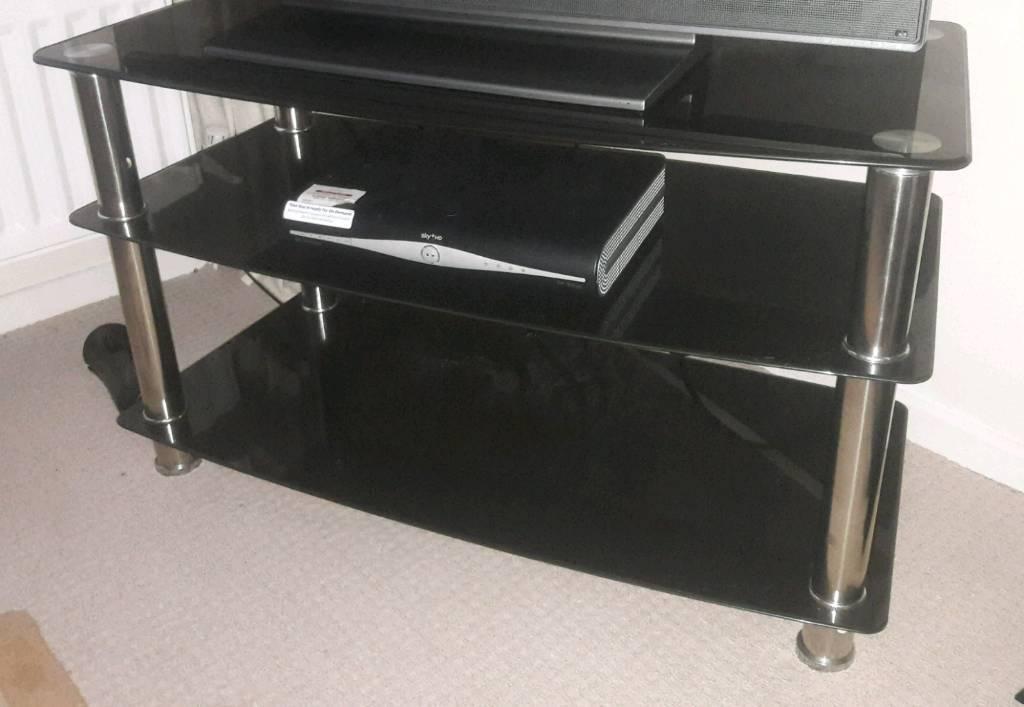 Black glass tv cabinet