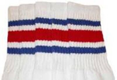 "22"" KNEE HIGH WHITE tube socks with ROYAL BLUE/RED stripes style 3 (22-55)"
