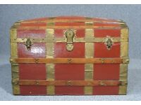 Antique Dome Top Steamer Trunk Chest Blanket Box