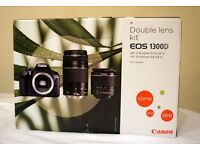 NEW Canon EOS 1300D DSLR + EF-S 18-55mm f/3.5-5.6 DC III + EF 75-300mm f/4-5.6 III BOXED