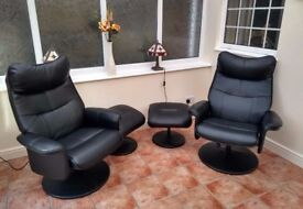 Faux leather chairs and matching footstools