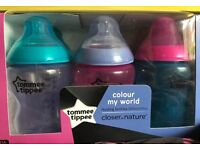 Tommee tippee colour my world bottles x6