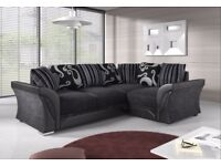 BRAND NEW R/H SHANNON CORNER SOFA IN BLACK/GREY WITH CHROME FEET... ONLY £359.99