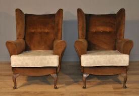 Pair Of Parker Knoll Style Fireside Easy Armchairs Arm Chairs For Reupholstery