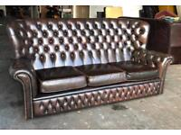 Antique brown leather Chesterfield sofa Can deliver