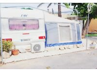 Caravan and awning in benidorm 6 berth sited